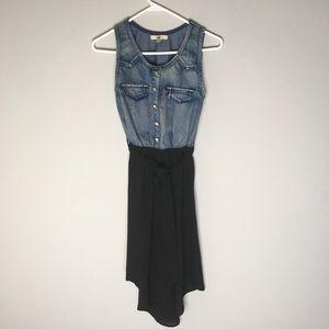 YA Los Angeles Hi-Lo Chambray/Chiffon Dress-C